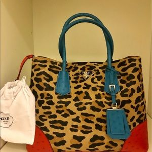 Authentic brand new Prada Ostrich Leopard Hair
